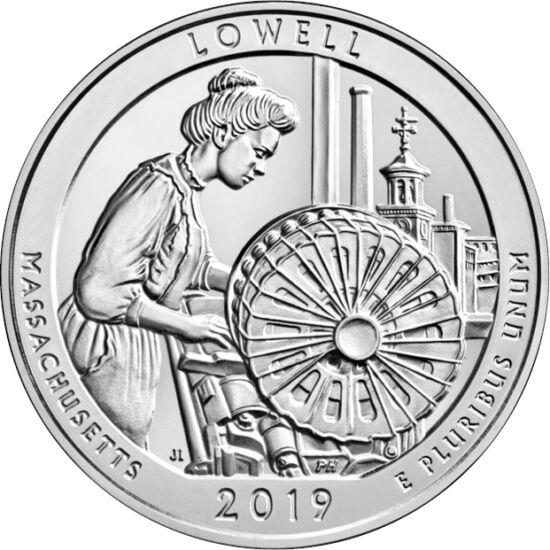 // 1/4 dollár, USA, 2019 // - A Lowell-i nemzeti történelmi emlékpark skanzenszerűen mutatja be az ipari forradalom Amerikáját. Az ipari forradalom és tömegtermelés zászlóvivője volt egykor a textil ipar, amely a gépesítés eredményeként városlakók milliói