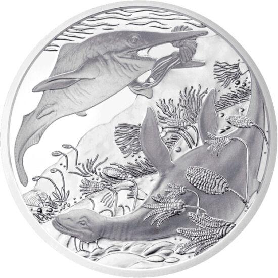 """// 20 euró, 900-as ezüst, Ausztria, 2013 // - A Triász földtörténeti korszak meghatározó eleme a víz, melyben a növény- és állatvilág nagymértékű fejlődésen és átalakuláson ment keresztül. Az osztrák pénzverde öt éves, """"Élet az őskorban"""" sorozatának legel"""