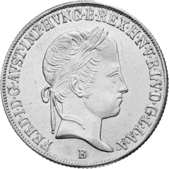// 20 krajcár, 583-as ezüst, Magyar Királyság, 1837-1848 // - Ez a 20 krajcár az első magyar nyelvű pénz latin nyelvű elődje. A szabadságharc előtt ezt a változatot verték Körmöcbányán, majd 1848-ban a feliratot magyar nyelvűre változtatták. A magyar tört