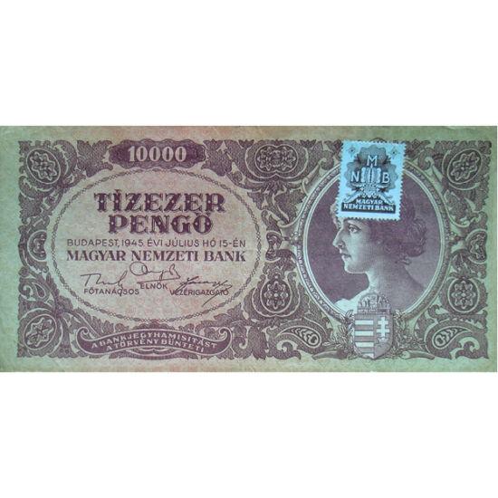 // 10000 pengő, Magyar Királyság, 1945 // - Az 1926-ban bevezetett koronát követő pengőhöz később a magyar történelem legnagyobb mértékű inflációja kötődik. Az 1930-ban még stabil pénz a háború után rohamosan vesztett az értékéből, 1945-től pedig olyan mé