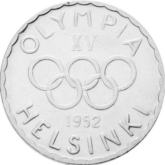 // 500 márka, 500-as ezüst, Finnország, 1952 // - Meglepő, de az újkori olimpiák történetében, a modern korban csak a 15. olimpiának jelent meg elsőként emlékpénze. Ezen, a Helsinkiben rendezett olimpiát köszöntő ezüstérmen jelent meg először az olimpiai