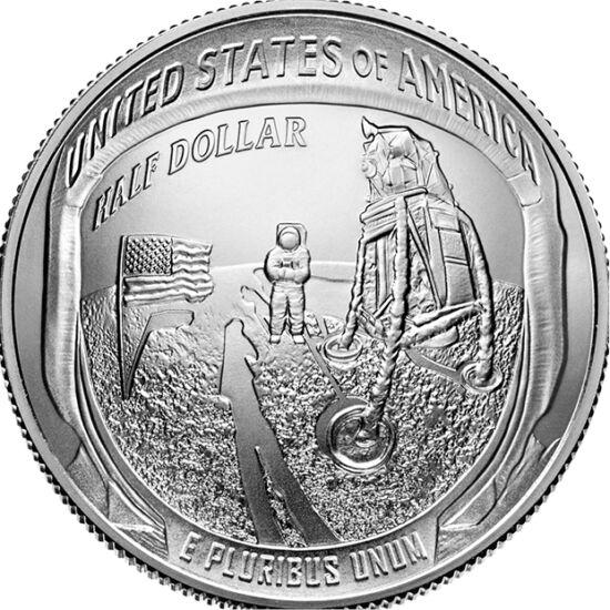 // 1/2 dollár, USA, 2019 // - 1969. július 20-án az Apollo-11 leszállóegysége két emberrel a fedélzetén leszállt a Holdra. A történelmi tett 50. évfordulójára már most megjelentette az USA a hivatalos emlékpénzeit.  Az érmék előlapján az ikonikus első láb
