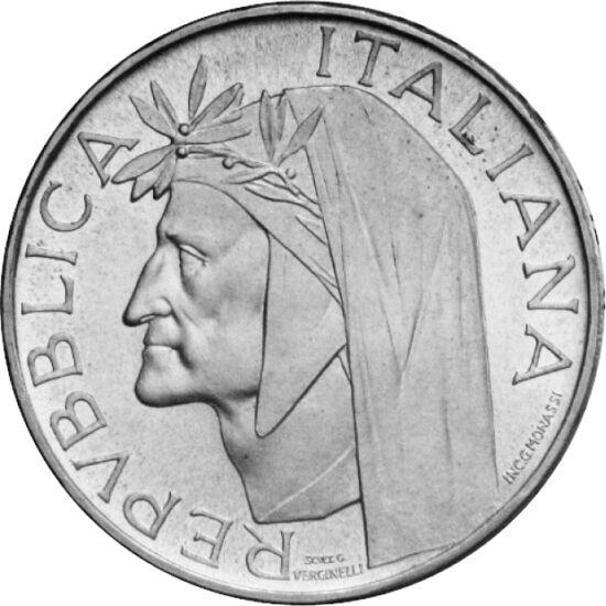 // 500 líra, 835-ös ezüst, Olaszország, 1965 // - Az olasz, sőt a világirodalom egyik legnagyobb alakjának, Dante Alighieri születésének 700. évfordulójáról emlékezett meg ez az olasz ezüst érme. A már több mint 50 éves érme előlapján a költő, hátlapján a