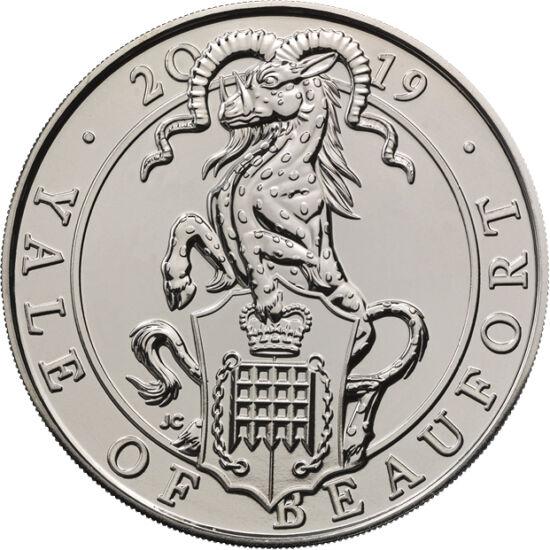 // 5 font, Nagy-Britannia, 2019 // - A yale egy pettyes kecskebakot formáz, melynek azonban vaddisznó agyarai és tetszőleges irányba fordítható szarvai vannak. Először Plinius ókori római természet filozófus írta le a fenevadat természettudományi kötetébe