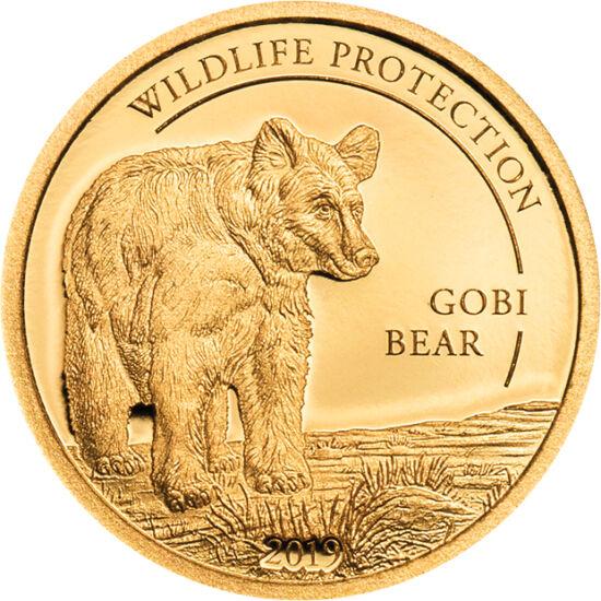 // 1000 tugrik, 999,9-es arany, Mongólia, 2019 // - A mazaalai, azaz a Góbi-sivatagi medve kizárólag a sivatagban él, és rendkívül nagy az esélye, hogy kihal. Mindössze 22 vadon élő példánya ismert. Képes rokon fajtákkal szaporodni, de a fajtája akkor is
