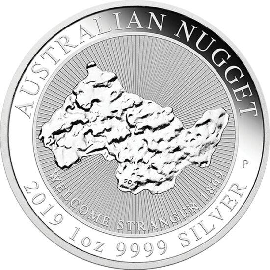 """// 1 dollár, 999,9-es ezüst, Ausztrália, 2019 // - Ausztrália több legendás, nagy méretű, súlyú aranyrög lelőhelye. Legújabb egy unciás színezüst érméjén az 1869-ben talált legnagyobb, """"Welcome stranger"""", azaz """"Üdvözlet, idegen"""" elnevezésű nugget-et, azaz"""