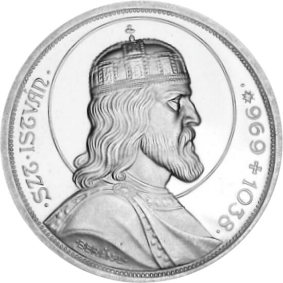 // 5 pengő, 640-es ezüst, Magyar Királyság, 1938 // - Szent István halálának 900 éves évfordulójára készült 5 pengő lett 1938-ban az év legszebb pénze. Szakértők szerint mindmáig győztes lehetne Berán József remekműve. Az érme kitűnik a többi 5 pengő érme