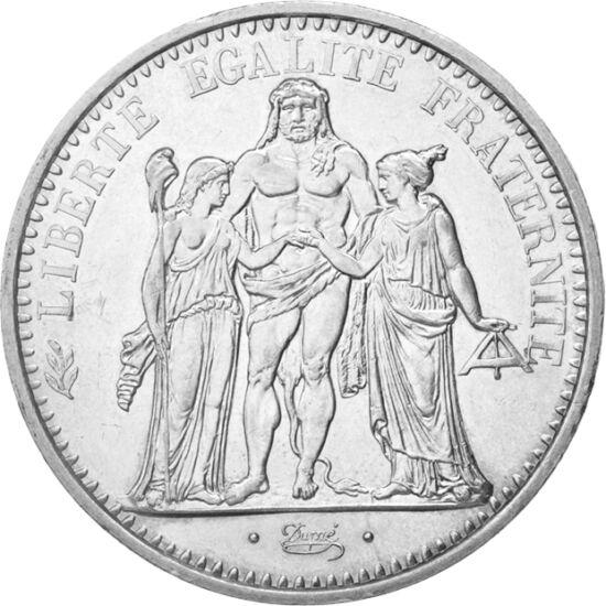 // 10 frank, 900-as ezüst, Franciaország, 1965-1973 // - A három alakos, allegorikus csoport Franciaországot és hármas jelszavát testesíti meg. Míg a lándzsáját frígiai sapkával felékesítő nőalak a szabadságot, a szabadkőművesek mérőlécét tartó nőalak a t
